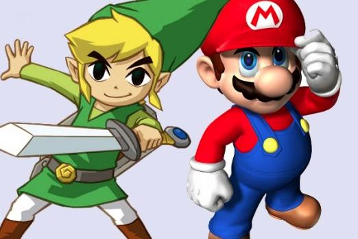 Mario y Link están atentos, para que nadie les meta en un móvil.
